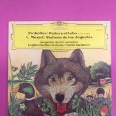 Discos de vinilo: JACQUELINE DU PRE, PROKOFIEV, PEDRO Y EL LOBO, SINFONIA DE LOS JUGUETES, L. MOZART, LP. Lote 254630970