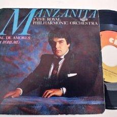 Discos de vinilo: MANZANITA-SINGLE MAL DE AMORES. Lote 254642260