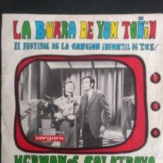 Discos de vinilo: HERMANOS CALATRAVA-LA BURRA DE YON TOÑIN-2 FESTIVAL DE LA CANCION INFANTIL T.V.E.,1968. Lote 254666845