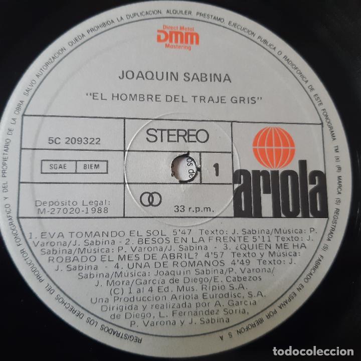 Discos de vinilo: JOAQUIN SABINA- EL HOMBRE DEL TRAJE GRIS - LP 1988 + ENCARTE - EXC. ESTADO. - Foto 5 - 254705555