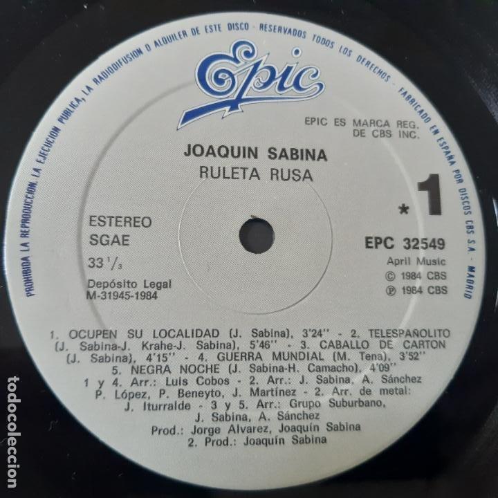 Discos de vinilo: JOAQUIN SABINA- RULETA RUSA - LP 1984- VINILO EXC. ESTADO. - Foto 6 - 254716655