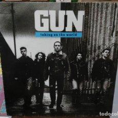 Discos de vinilo: GUN - TAKING ON THE WORLD - LP. SELLO AM RECORDS 1989. Lote 254731095