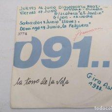 Discos de vinilo: 091/LA TORRE DE LA VELA/GIRA ASTUR 1988/SINGLE PROMOCIONAL.. Lote 254780850