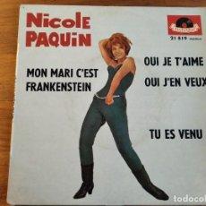 Discos de vinilo: NICOLE PAQUIN - MON MARI C'EST FRANKENSTEIN + 3 ***** RARO EP 60S BEAT SWINGIN MADEMOISELLE FRANCÉS. Lote 254820845
