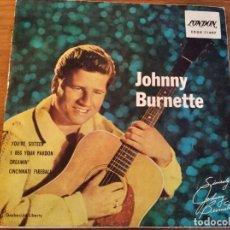 Discos de vinilo: JOHNNY BURNETTE - YOU'RE SIXTEEN + 3 ***** RARO EP ESPAÑOL 1961 BUEN ESTADO!. Lote 254825360