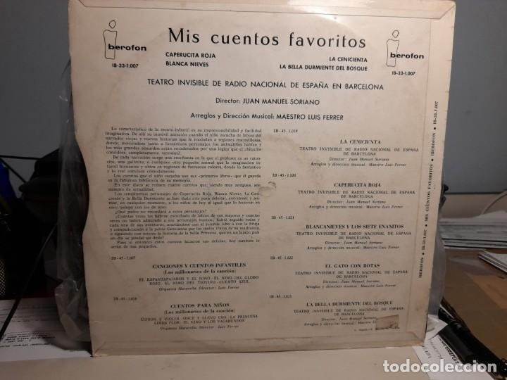 Discos de vinilo: LP MIS CUENTOS FAVORITOS : CAPERUCITA ROJA + BLANCA NIEVES + LA CENICIENTA + LA BELLA DURMIENTE - Foto 2 - 254829325