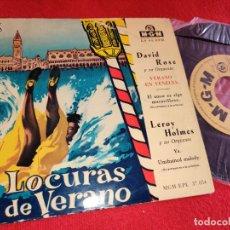 Discos de vinilo: DAVID ROSE VERANO EN VENECIA +1/LEROY HOLMES YA +1 EP 7'' 195? MGM ESPAÑA SPAIN LOCURAS VERANO. Lote 254985710