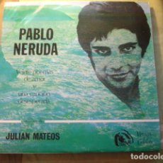 Discos de vinilo: JULIÁN MATEOS PABLO NERUDA, VEINTE POEMAS DE AMOR Y UNA CANCIÓN DESESPERADA. Lote 254993815