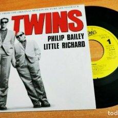 Discos de vinilo: PHILIP BAILEY & LITTLE RICHARD BANDA SONORA TWINS SINGLE VINILO PROMO ESPAÑA 1988 CONTIENE 1 TEMA. Lote 255000400