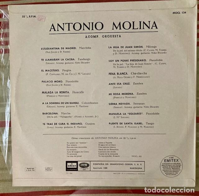 Discos de vinilo: ANTONIO MOLINA - LP 1965 - Foto 2 - 255007225