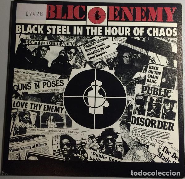 PUBLIC ENEMY – BLACK STEEL IN THE HOUR OF CHAOS-PROMO ESPAÑOL 1989 (Música - Discos - Singles Vinilo - Rap / Hip Hop)