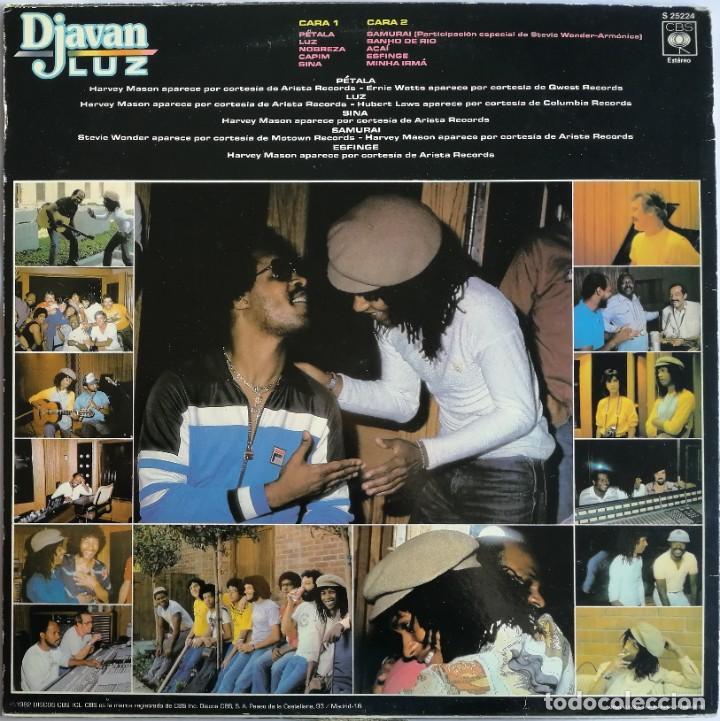Discos de vinilo: Djavan, Luz, CBS S 25224, PROMO - Foto 2 - 255321545