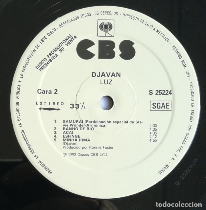 Discos de vinilo: Djavan, Luz, CBS S 25224, PROMO - Foto 5 - 255321545