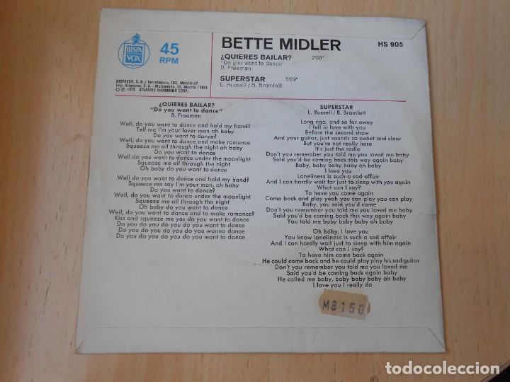 Discos de vinilo: BETTE MIDLER, SG, ¿QUIERES BAILAR? (DO YOU WANT TO DANCE) + 1 , AÑO 1972 - Foto 2 - 255343455