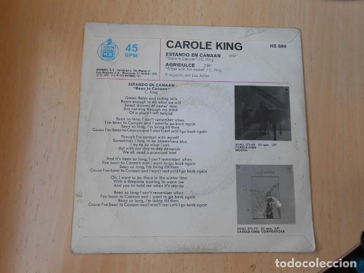 Discos de vinilo: CAROLE KING, SG, ESTANDO EN CANAAN (BEEN TO CANAAN) + 1 , AÑO 1972 - Foto 2 - 255347750