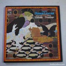 Discos de vinilo: PUCCINI. MANON LESCAUT - CABALLÉ, DOMINGO / BRUNO BARTOLETTI - CAJA CON 2 LP+2 LIBRETOS. Lote 255427345