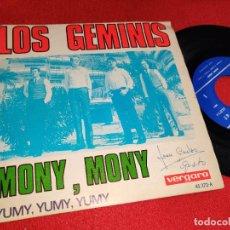 Discos de vinilo: LOS GEMINIS MONY MONY/YUMY YUMY YUMY 7'' SINGLE 1968 VERGARA. Lote 255439300