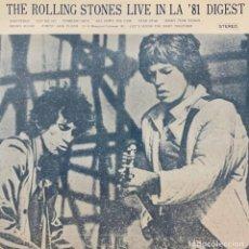 Discos de vinilo: THE ROLLING STONES / LIVE IN LA '81 DIGEST /JAPONÉS EXTREMADAMENTE RARO / EXTREMELY RARE JPN RELEASE. Lote 255537750