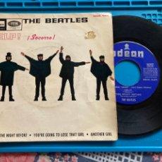 Discos de vinilo: THE BEATLES - HELP / THE NIGHT BEFORE + TRES TEMAS EMI ODEON - 1965 SINGLE. Lote 255551940