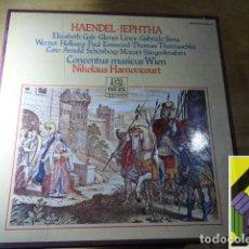 Discos de vinilo: HAENDEL: JEPHTHA (CONCENTUS MUSICUS WIEN. DIR:NIKOLAUS HARNONCOURT) BOX 4 LP CON LIBRETO. Lote 255603975