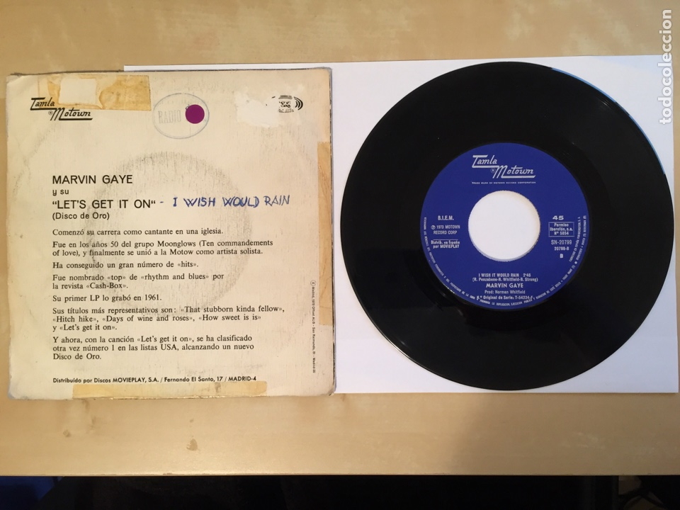 "Discos de vinilo: Marvin Gaye - Let's Get It On - SINGLE RADIO 7"" - 1973 Tamla Motown SPAIN - Foto 3 - 255620475"
