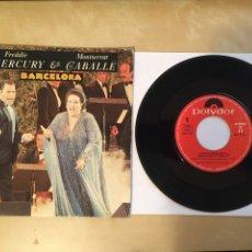 "Discos de vinilo: FREDDIE MERCURY & MONTSERRAT CABALLE - BARCELONA - GATEFOLD (PORTADA DOBLE) - SINGLE RADIO 7"" - 1987. Lote 255644185"