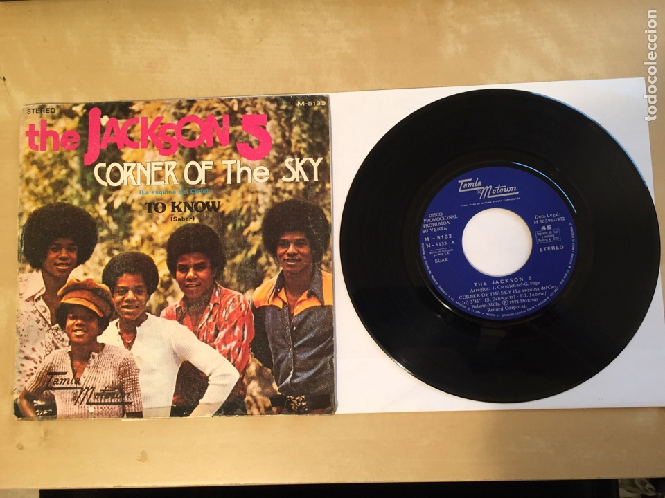 "THE JACKSON 5 - CORNER OF THE SKY - PROMO SINGLE RADIO 7"" - 1972 SPAIN (Música - Discos - Singles Vinilo - Funk, Soul y Black Music)"