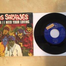 """Dischi in vinile: LOS SALVAJES - NANA / I NEED YOUR LOVING - PROMO SINGLE RADIO 7"""" - 1969 EMI SPAIN. Lote 255923350"""