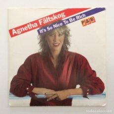 Discos de vinilo: AGNETHA FÄLTSKOG – IT'S SO NICE TO BE RICH / P&B EX-ABBA SWEDEN,1983 POLAR. Lote 251436475