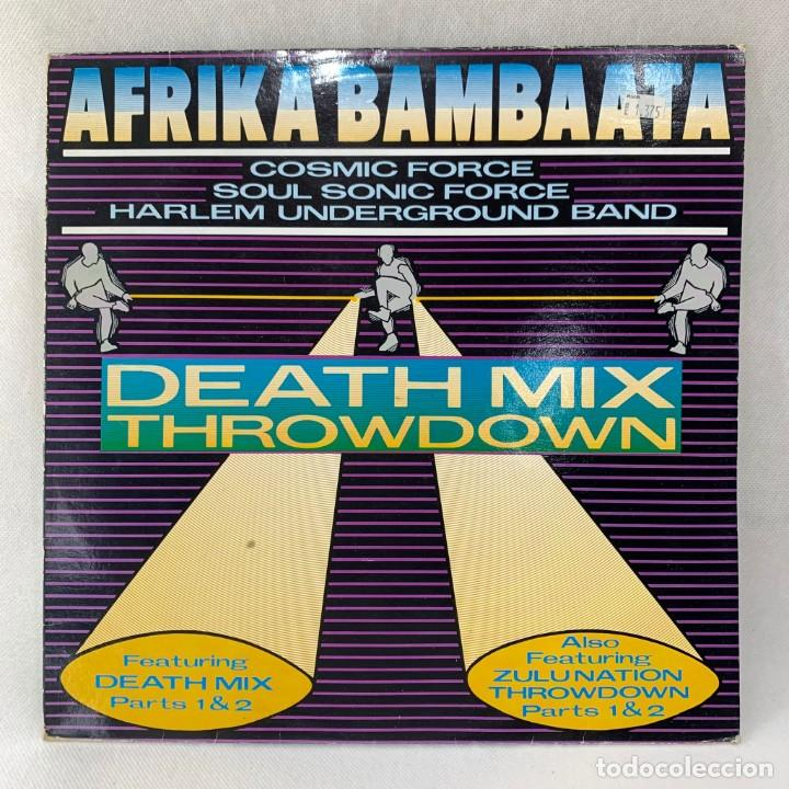 MAXI SINGLE AFRIKA BAMBAATA - DEATH MIX THROWDOWN - UK - AÑO 1987 (Música - Discos de Vinilo - Maxi Singles - Rap / Hip Hop)