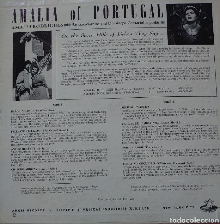 """Discos de vinilo: Amalia Rodrigues 10"""" sello Ángel récords editado en USA... - Foto 2 - 255984890"""