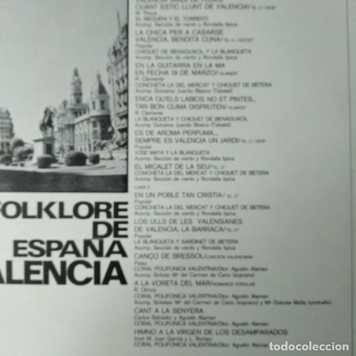 Discos de vinilo: FOLKLORE DE ESPAÑA, VALENCIA. - LP MUSICA VALENCIANA. - Foto 2 - 255991655