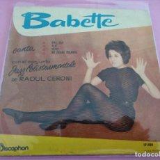 Discos de vinilo: BABETTE -EP- EHI, TU! + 3 RARE SPAIN UNIQUE 1960. Lote 256009820
