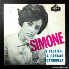 Discos de vinilo: SIMONE DE OLIVEIRA - IV FESTIVAL DA CANÇÃO PORTUGUESA - EP PORTUGUES 1964 - DECCA. Lote 256026420