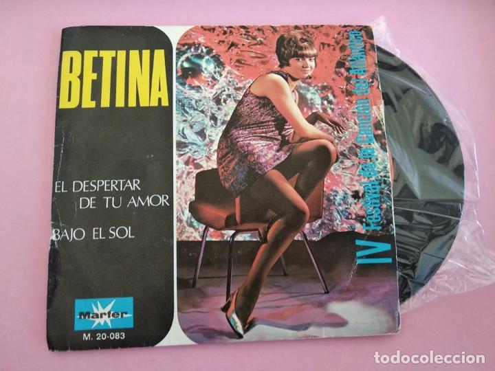 BETINA - FESTIVAL DEL ATLÁNTICO -, SG, EL DESPERTAR DE TU AMOR + 1, AÑO 1969 (Música - Discos - Singles Vinilo - Otros Festivales de la Canción)