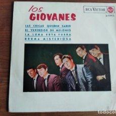 Discos de vinilo: LOS GIOVANES - EL VENDEDOR DE MELONES (WATERMELON MAN) + 3 ***** RARO EP 60'S GARAJE 1965. Lote 256152160