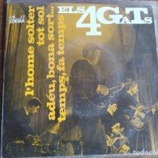 Discos de vinilo: ELS 4 GATS - L'HOME SOLTER + 3 ***** RARO EP BEAT CATALÀ 1964 VERSIÓN BEATLES. Lote 256153005