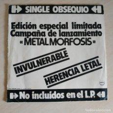 Discos de vinilo: BARON ROJO - INVULNERABLE / HERENCIA LETAL (SINGLE PROMO AÑO 1983) EDICION ESPECIAL LIMITADA - HEAVY. Lote 257281870