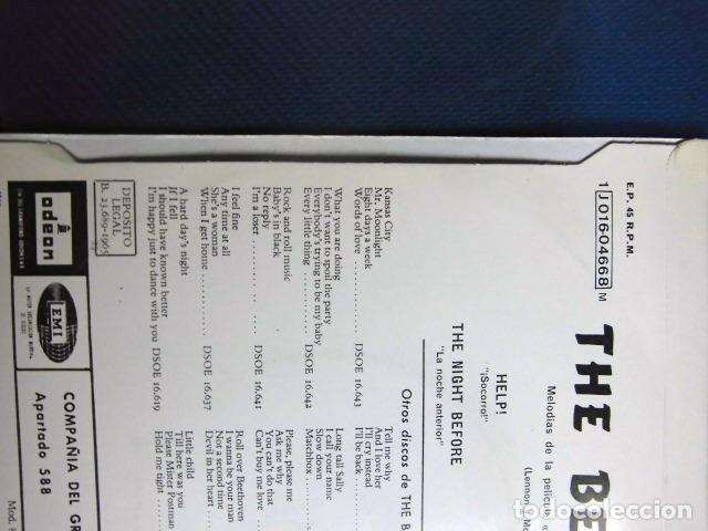 Discos de vinilo: BEATLES SINGLE EP AZUL OSCURO LABEL CAMBIO REFERENCIA 1J EMI ODEON ESPAÑA ESTADO MINT - Foto 8 - 257415880