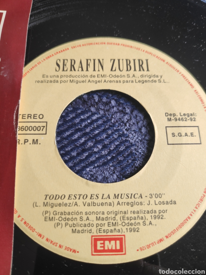 Discos de vinilo: Single vinilo promo Eurovision 92- Serafin Zubiri - Todo esto es la música - Doble cara A - Foto 2 - 257418865