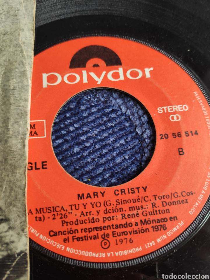 Discos de vinilo: Single vinilo español Eurovision 76 - Mary Cristy - La música tu y yo + Toi, la musique et moi - Foto 3 - 257433980