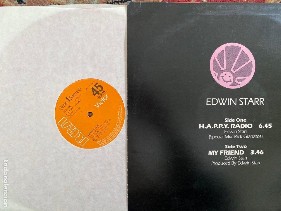 "Discos de vinilo: Edwin Starr - H.A.P.P.Y. Radio (Extended Disco Version) (12"") (vinilo Rojo) - Foto 2 - 257444920"