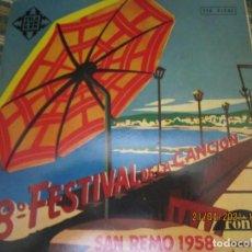 Discos de vinilo: 8º FESTIVAL DE LA CANCION - SAN REMO 1958 EP - ORIGINAL ESPAÑOL - TLEFUNKEN 1958 -MONOAURAL. Lote 257613580