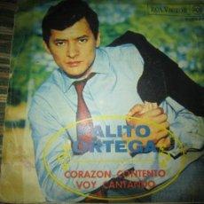 Discos de vinilo: PALITO ORTEGA - CORAZON CONTENTO - SINGLE - ORIGINAL ESPAÑOL - RCA VICTOR RECORDS 1968 - MONOAURAL. Lote 257617350