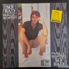 Discos de vinilo: SINGLE PAUL MCCARTNEY BEATLES SO BAD PIPES OF PEACE 1983 ESPAÑA SEGUNDA EDICIÓN N°1 INGLATERRA USA. Lote 257623310