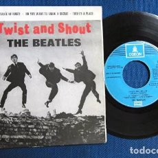 Disques de vinyle: BEATLES SINGLE EP EDITADO POR EMI ODEON RE EDICION AÑOS 80 ESPAÑA LABEL AZUL CIELO. Lote 257635835