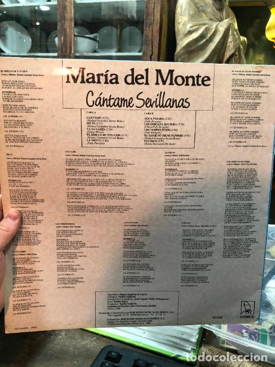 Discos de vinilo: LP MARIA DEL MONTE - CANTAME SEVILLANAS - Foto 2 - 257663180