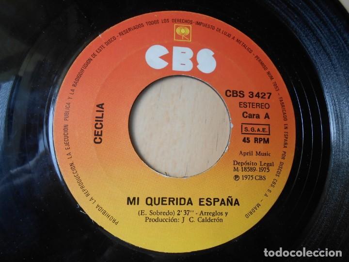 Discos de vinilo: CECILIA, SG, MI QUERIDA ESPAÑA + 1 , AÑO 1975 - Foto 3 - 257702105