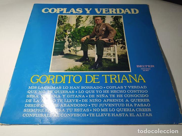 LP - GORDITO DE TRIANA – COPLAS Y VERDAD - 22.867 (VG / VG+ ) SPAIN 1974 (Música - Discos - LP Vinilo - Flamenco, Canción española y Cuplé)
