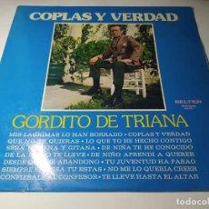 Discos de vinilo: LP - GORDITO DE TRIANA – COPLAS Y VERDAD - 22.867 (VG / VG+ ) SPAIN 1974. Lote 257717135